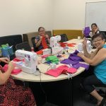 STEPS Palmerston sewing group sew bags